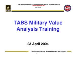 Primary view of object titled 'TABS Training 201 - Session 2 - Military Value Analysis (MVA)'.