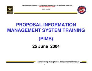 Primary view of object titled 'TABS Training 201 - Session 9 - Proposal Information Management System (PIMS)'.