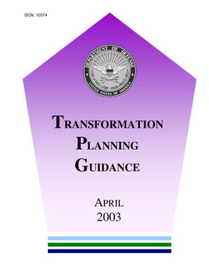 Primary view of object titled 'DOD Transformation Planning Guidance - Apr 03'.