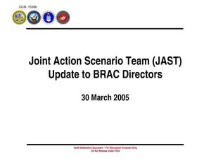 Primary view of object titled 'JAST Update to BRAC Directors (30 Mar 05) Rev'.