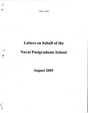 Primary view of object titled 'Regional Hearing Input, Monterey, CA Letters on behalf of the Naval Postgraduate School dtd 8 August 2005'.