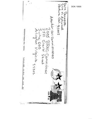 Primary view of object titled 'Letter from Dale Benedetti to BRAC dtd 22 Sep 2005'.