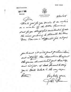 Primary view of object titled 'Thank You Note from Senator Thune (R-SD) to Commissioner Hansen'.