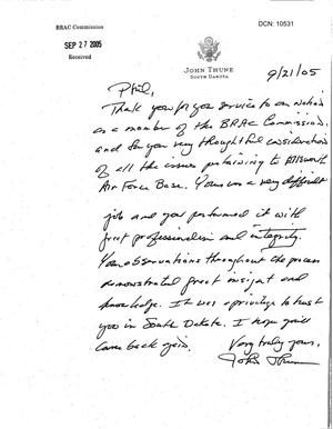 Primary view of object titled 'Thank You Note from Senator Thune (R-SD) to Commissioner Coyle'.