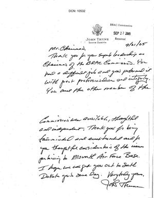 Primary view of object titled 'Thank You Note from Senator Thune to Chairman Principi'.