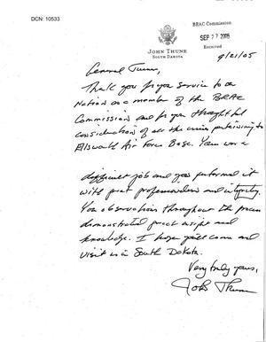 Primary view of object titled 'Thank You Note from Senator Thune (R-SD) to Commissioner Turner'.