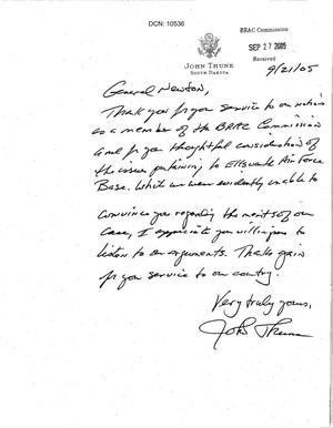 Primary view of object titled 'Thank You Note from Senator Thune (R-SD) to Commissioner Newton'.