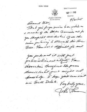 Primary view of object titled 'Thank You Note from Senator Thune (R-SD) to Commissioner Hill'.