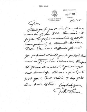 Primary view of object titled 'Thank You Note from Senator Thune (R-SD) to Commissioner Bilbray'.