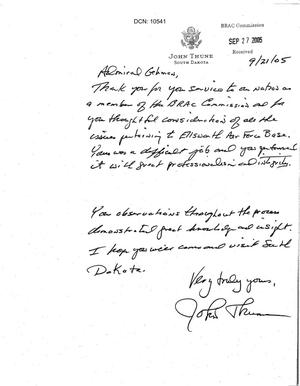 Primary view of object titled 'Thank You Note from Senator Thune (R-SD) to Commissioner Gehman'.