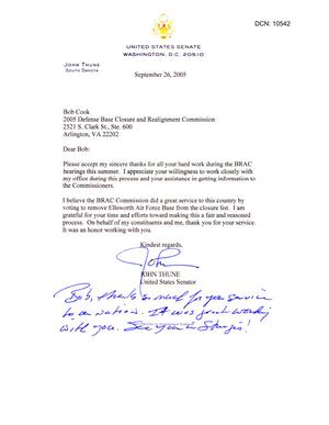 Primary view of object titled 'Thank You Note from Senator Thune (R-SD) to Bob Cook dtd 26 Sep 2005'.