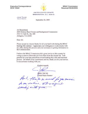 Primary view of object titled 'Executive Correspondence - Thank You Note from Senator Thune (R-SD) to Art Beauchamp'.