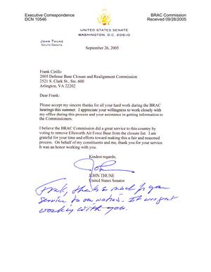 Primary view of object titled 'Executive Correspondence - Thank You Note from Senator Thune (R-SD) to Frank Cirillo'.