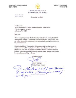 Primary view of object titled 'Executive Correspondence - Thank You Note from Senator Thune (R-SD) to Jim Schaefer'.
