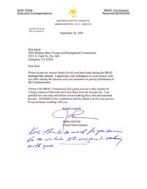 Primary view of object titled 'Executive Correspondence - Thank You Note from Senator Thune (R-SD) to Ken Small'.