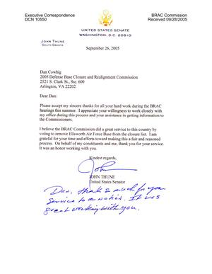 Primary view of object titled 'Executive Correspondence - Thank You Note from Senator Thune (R-SD) to Dan Cowhig'.