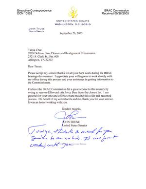 Primary view of object titled 'Executive Correspondence - Thank You Note from Senator Thune (R-SD) to Tanya Cruz'.