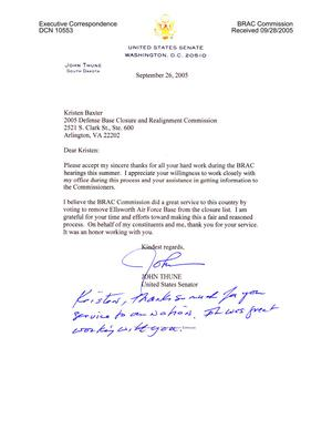 Primary view of object titled 'Executive Correspondence - Thank You Note from Senator Thune (R-SD) to Kristen Baxter'.