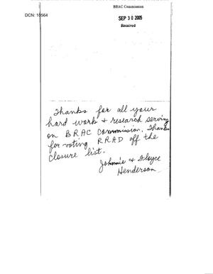 Primary view of object titled 'Thank You Notes from Johnnie and Floyce Henderson to BRAC Commissioners'.