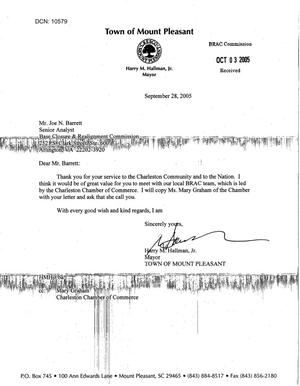 Primary view of object titled 'Letter from Mount Pleasant, SC to Analyst Joe N. Barrett dtd 28 Sep 05'.