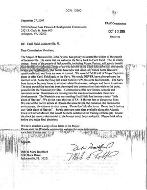 Primary view of object titled 'Letter from Debi and Mark Rochford to BRAC Commissioners dtd 27 Sep 05'.