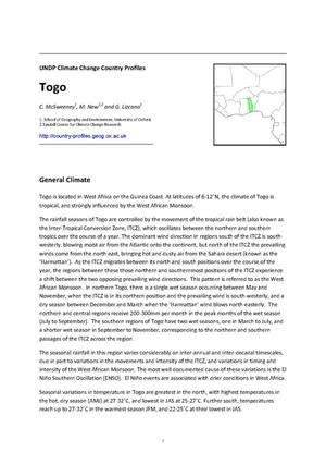 Primary view of object titled 'UNDP Climate Change Country Profiles: Togo'.