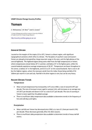 Primary view of object titled 'UNDP Climate Change Country Profiles: Yemen'.