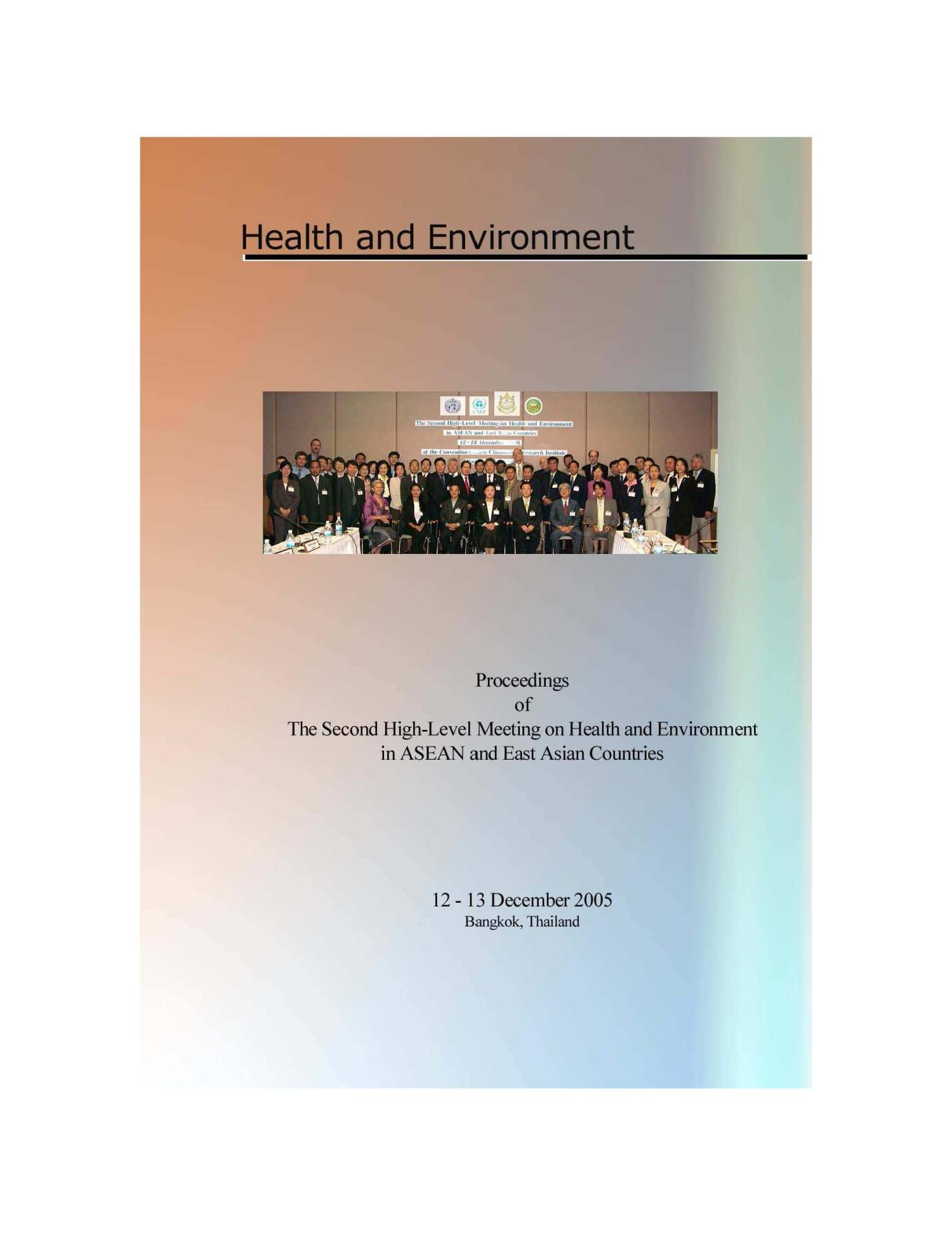 2nd High-Level Meeting on Health and Environment in ASEAN and East Asian Countries                                                                                                      1