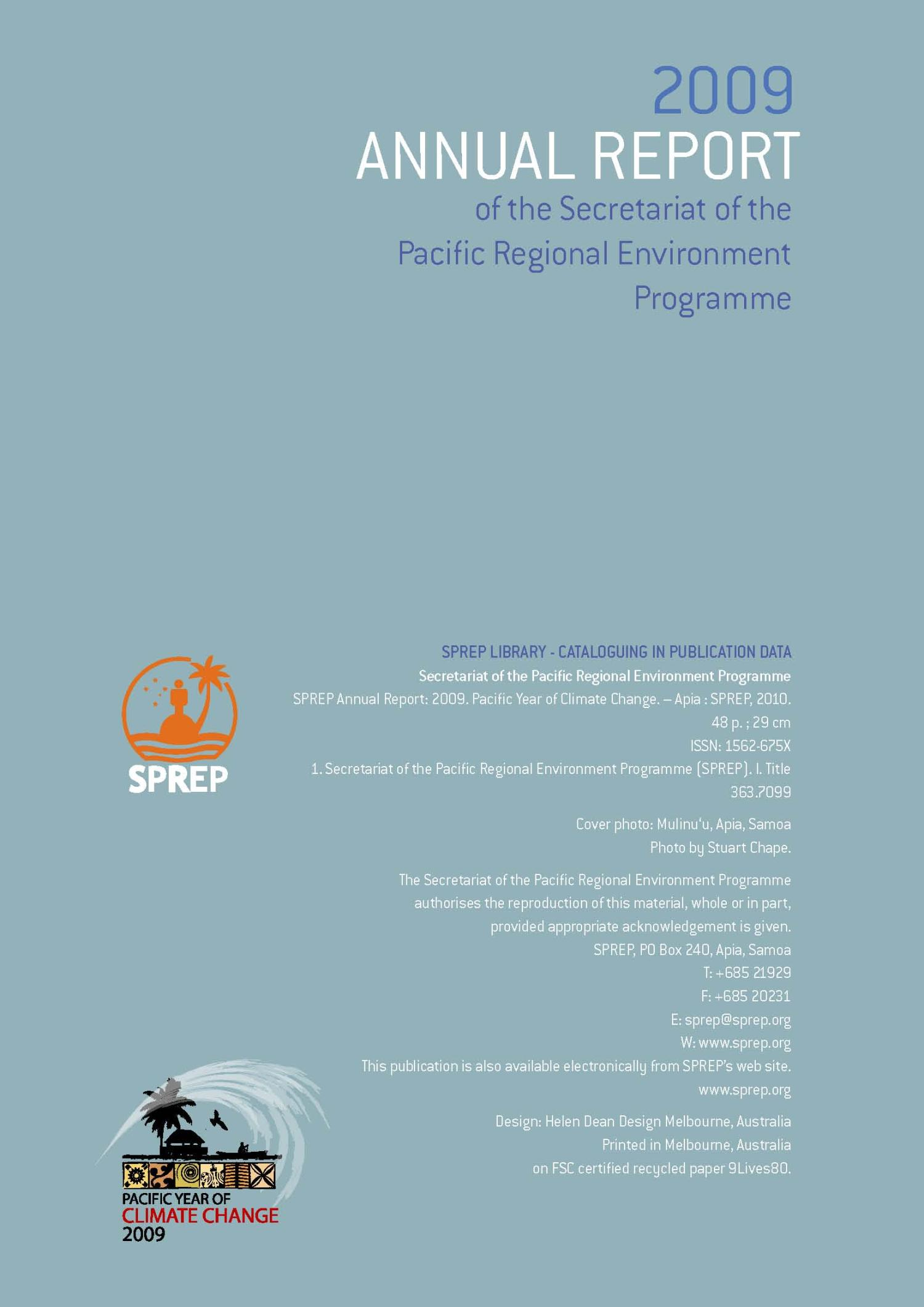 2009 Annual Report of the Secretariat of the Pacific Regional Environment Programme                                                                                                      Back Cover