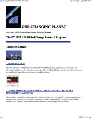 Primary view of object titled 'Our Changing Planet: The FY 1995 U.S. Global Change Research Program'.