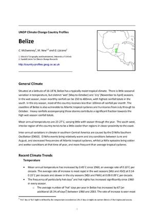 Primary view of object titled 'UNDP Climate Change Country Profiles: Belize'.