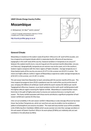 Primary view of object titled 'UNDP Climate Change Country Profiles: Mozambique'.