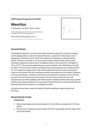 Primary view of object titled 'UNDP Climate Change Country Profiles: Mauritius'.