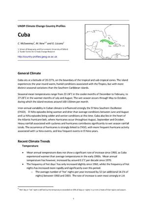Primary view of object titled 'UNDP Climate Change Country Profiles: Cuba'.