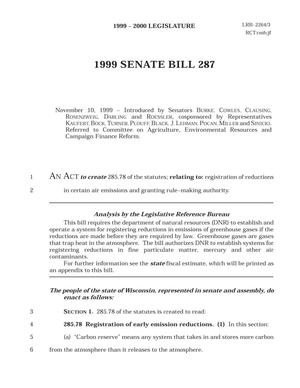 Primary view of object titled '1999 - 2000 Legislature: 1999 Senate Bill 287'.