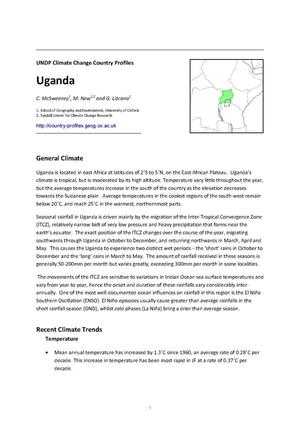 Primary view of object titled 'UNDP Climate Change Country Profiles: Uganda'.