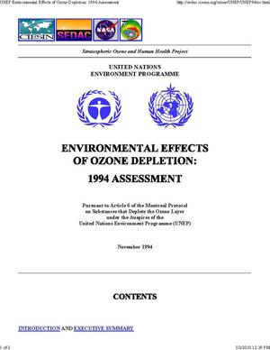 Primary view of object titled 'Environmental Effects of Ozone Depletion: 1994 Assessment'.