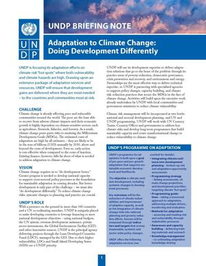 Primary view of object titled 'UNDP Briefing Note on Adaptation to Climate Change: Doing Development Differently'.
