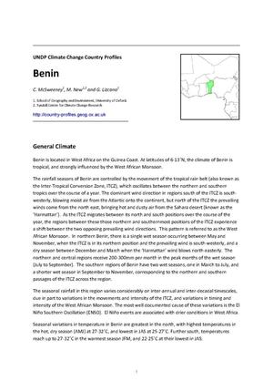 Primary view of object titled 'UNDP Climate Change Country Profiles: Benin'.