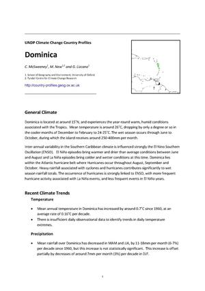 Primary view of object titled 'UNDP Climate Change Country Profiles: Dominica'.