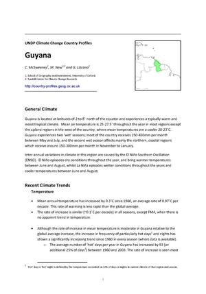 Primary view of object titled 'UNDP Climate Change Country Profiles: Guyana'.