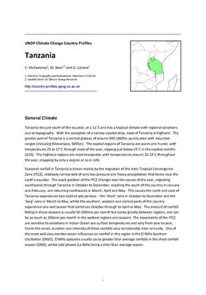 Primary view of object titled 'UNDP Climate Change Country Profiles: Tanzania'.
