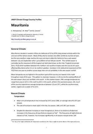 Primary view of object titled 'UNDP Climate Change Country Profiles: Mauritania'.