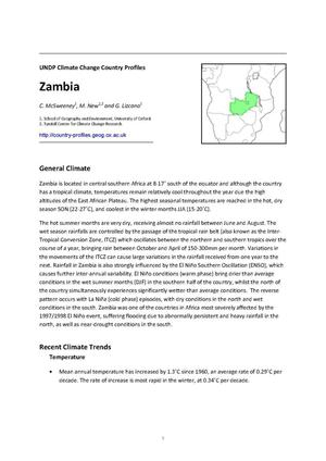Primary view of object titled 'UNDP Climate Change Country Profiles: Zambia'.