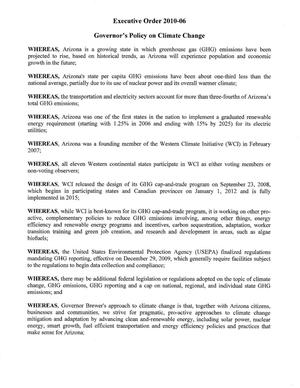 Executive Order 2010-06 : Governor's Policy on Climate Change