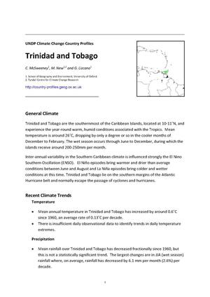 Primary view of object titled 'UNDP Climate Change Country Profiles: Trinidad and Tobago'.