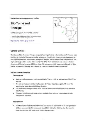 Primary view of object titled 'UNDP Climate Change Country Profiles: São Tomé and Príncipe'.