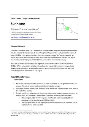 Primary view of object titled 'UNDP Climate Change Country Profiles: Suriname'.