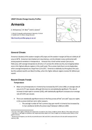 Primary view of object titled 'UNDP Climate Change Country Profiles: Armenia'.