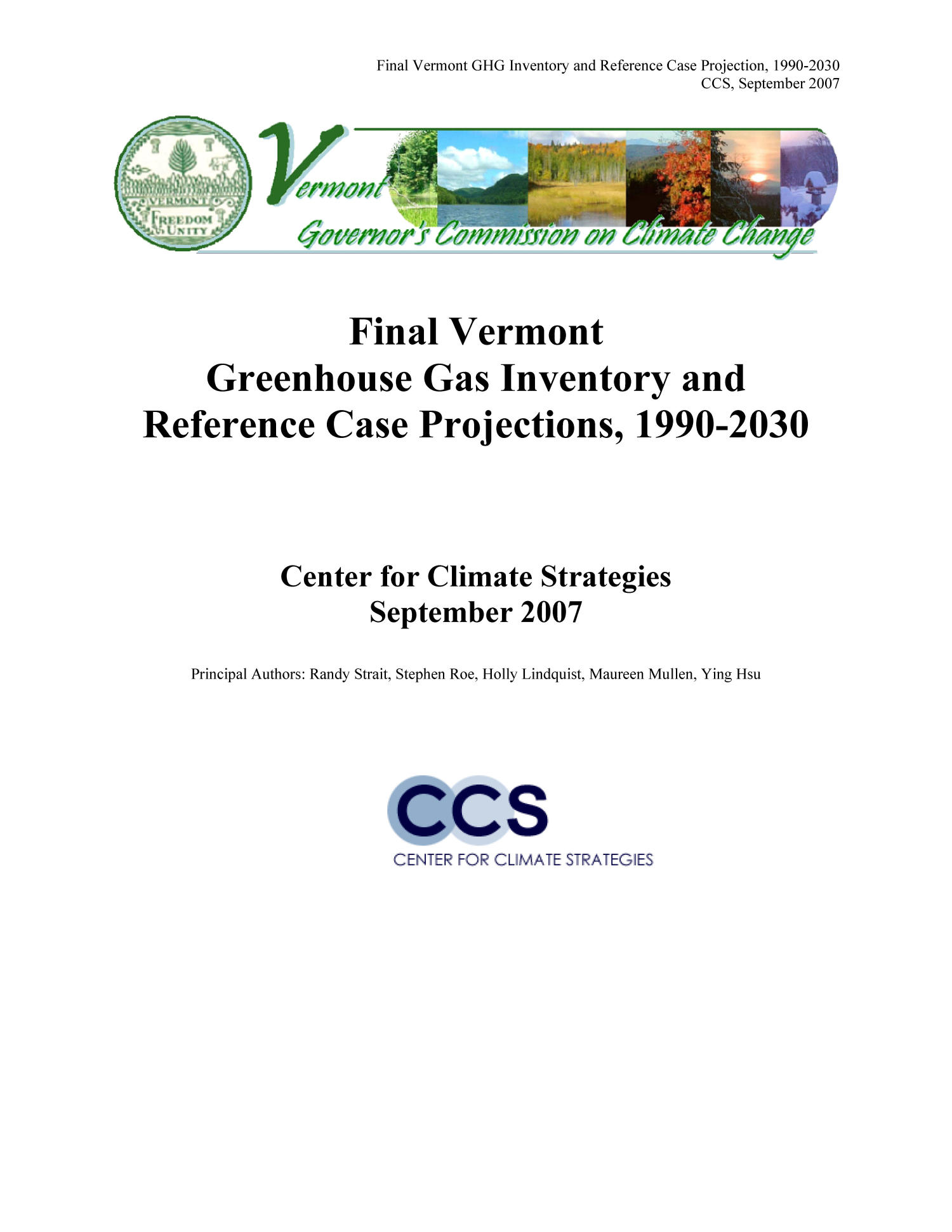 Final Vermont Greenhouse Gas Inventory and Reference Case Projections, 1990-2030                                                                                                      Title Page